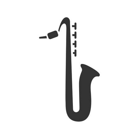 Saxophone glyph icon. Sax. Silhouette symbol. Negative space. Vector isolated illustration