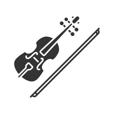 Violin glyph icon. Fiddle. Silhouette symbol. Negative space. Vector isolated illustration