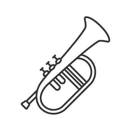 Flugelhorn linear icon. Thin line illustration. Cornet. Bugel. Contour symbol. Vector isolated outline drawing