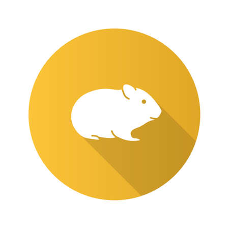 Hamster flat design long shadow glyph icon. Rodent. Vector silhouette illustration Illustration