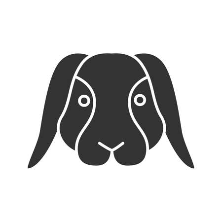 Dwarf rabbit glyph icon. Silhouette symbol. Bunny. Hare. Negative space. Vector isolated illustration