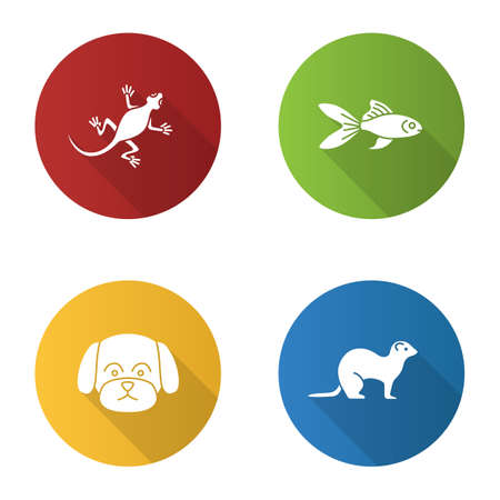 Pets flat design long shadow glyph icons set. Lizard, goldfish, maltese dog, ferret. Vector silhouette illustration