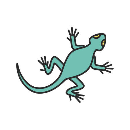 Lizard color icon. Salamander. Isolated vector illustration