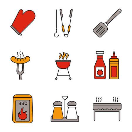 Ensemble d'icônes de couleur barbecue. UN BARBECUE. Gant de cuisine, brochette et pinces, spatule, saucisse grillée, grill, ketchup et moutarde, charbon, salière et poivrière. Illustrations vectorielles isolées