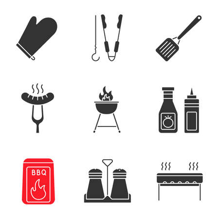 Barbecue glyph icons set. BBQ. Oven mitt, skewer and tongs, spatula, grilled sausage, grill, ketchup and mustard, coal, salt and pepper shakers. Silhouette symbols. Vector isolated illustration