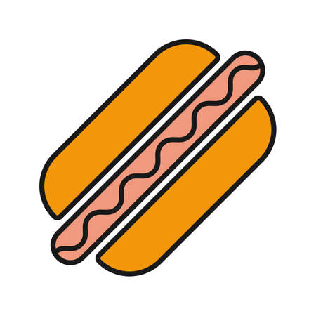 American hot dog color icon. Sausage in dough. Isolated vector illustration Vectores