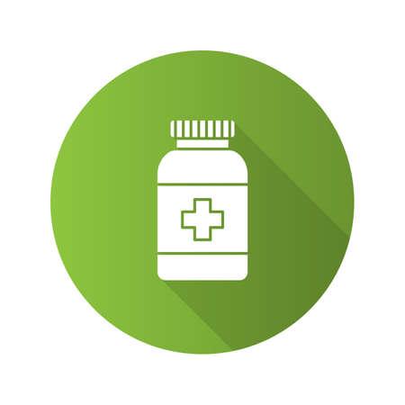 Prescription pills bottle flat design long shadow glyph icon. Medications. Vector silhouette illustration