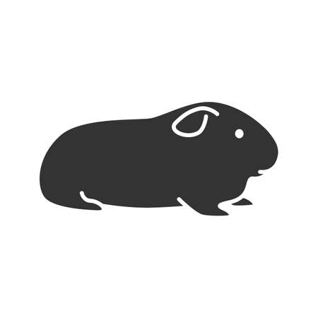 Cavy glyph icon. Domestic guinea pig. Silhouette symbol. Negative space. Vector isolated illustration Vectores