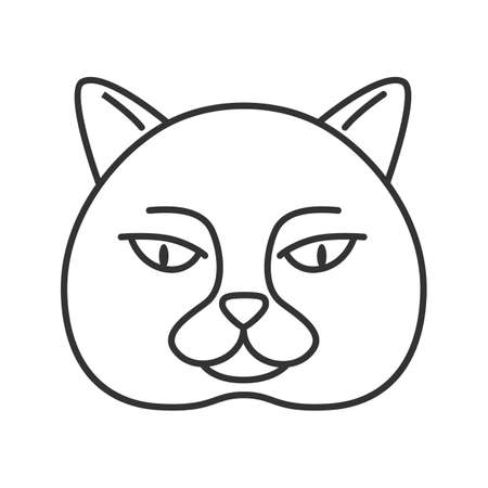 British shorthair cat linear icon. Thin line illustration. British blue. Contour symbol. Vector isolated outline drawing