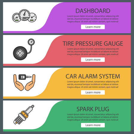 Auto workshop web banner templates set. Website color menu items. Dashboard, tire pressure gauge, alarm system, spark plug. Vector headers design concepts Illustration