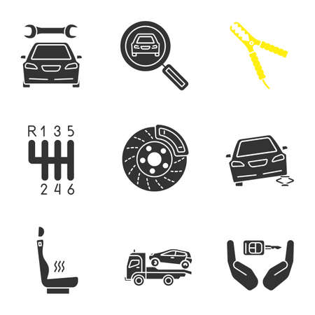 Auto Workshop Glyph Icons Set Repair Service Car Searching