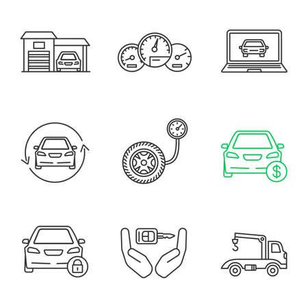 Set di icone lineare officina automatica. Garage, cruscotto, diagnostica, ristrutturazione auto, manometro, prezzo auto, lucchetto, chiave, carro attrezzi. Simboli di contorno di linea sottile. Illustrazioni di contorno vettoriale isolato Vettoriali