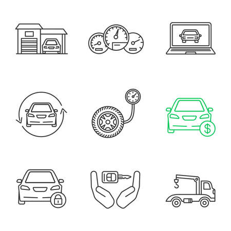 Auto workshop linear icons set. Garage, dashboard, diagnostics, car renovation, pressure gauge, auto price, padlock, key, tow truck. Thin line contour symbols. Isolated vector outline illustrations