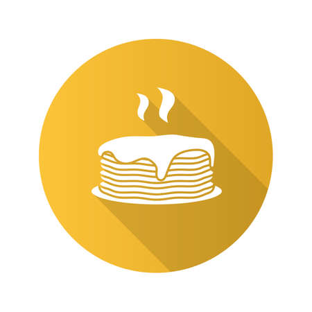 Fresh pancakes stack flat design long shadow glyph icon. Vector silhouette illustration