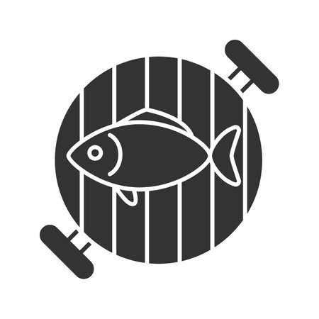 Fish on barbecue grill glyph icon. Silhouette symbol. Negative space. Vector isolated illustration