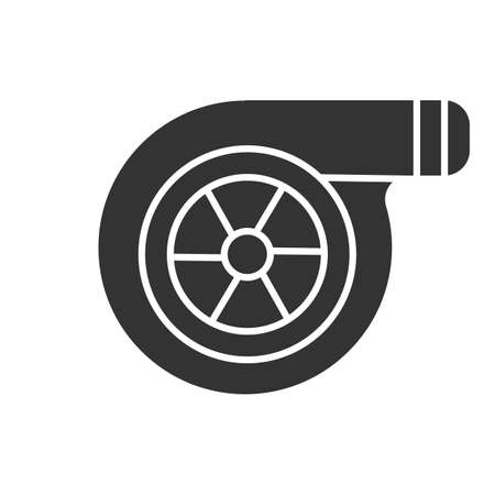 Turbocharger glyph icon. Colloquially turbo. Silhouette symbol. Negative space. Vector isolated illustration
