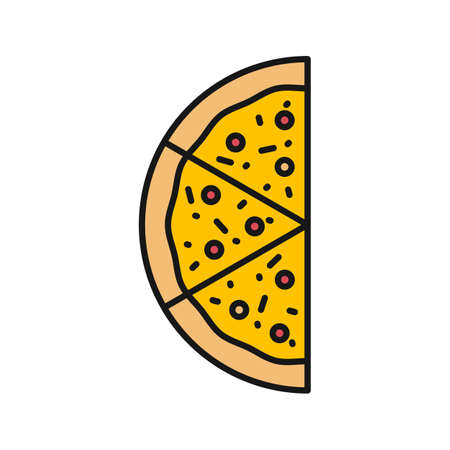 Half of pizza color icon. Pizzeria sign. Isolated vector illustration Иллюстрация