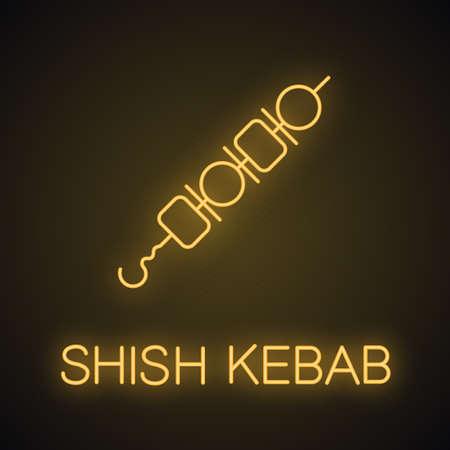 Shish kebab neon light icon. Pork and vegetable brochettes. Shashlik glowing sign. Vector isolated illustration