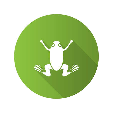 Frog flat design long shadow glyph icon. Toad. Vector silhouette illustration