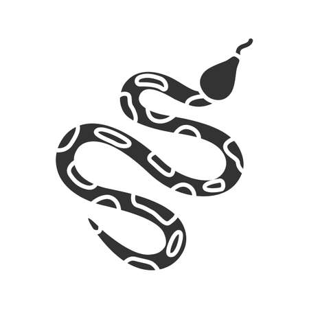 Icono de glifo de Python. Serpiente. Boa constrictor. Símbolo de silueta. Espacio negativo. Ilustración de vector aislado