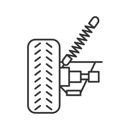 Car suspension linear icon. Thin line illustration. Shock absorber. Contour symbol. Vector isolated outline drawing