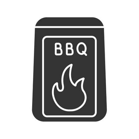 Barbeque coal glyph icon. Silhouette symbol. Negative space. Bbq fuel. Vector isolated illustration