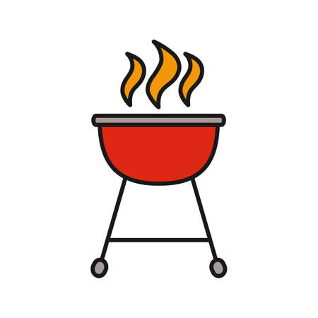 Kettle barbecue grill color icon. Isolated vector illustration Vettoriali
