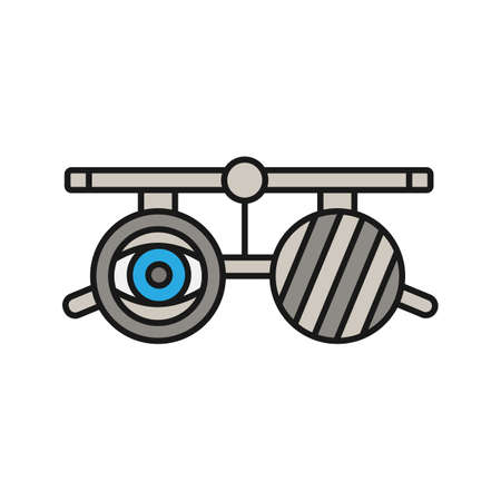 Eye exam glasses color icon. Visual acuity testing. Optometry. Isolated vector illustration