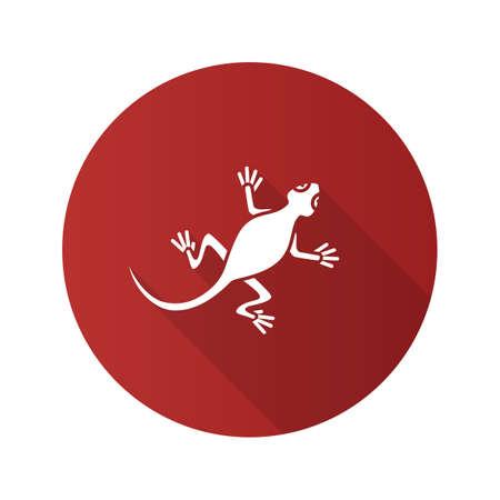 Lizard flat design long shadow glyph icon. Salamander. Vector silhouette illustration Illustration