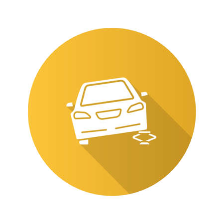 Portable car jack flat design long shadow glyph icon. Wheel changing. Broken automobile. Vector silhouette illustration