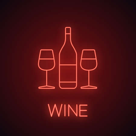 Wine and two glasses neon light icon. Bar glowing sign. Champagne. Vector isolated illustration Stock Illustratie