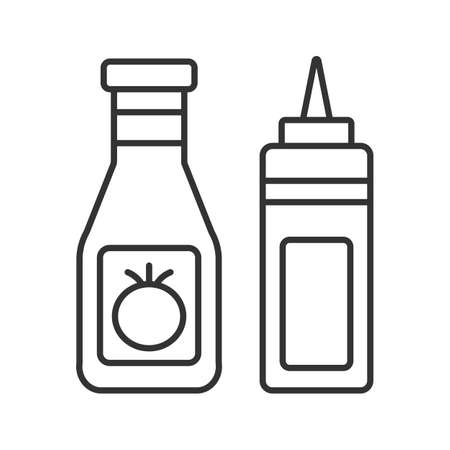 Ketchup and mustard linear icon. Thin line illustration. Condiment bottles. Contour symbol. Vector isolated drawing Illustration