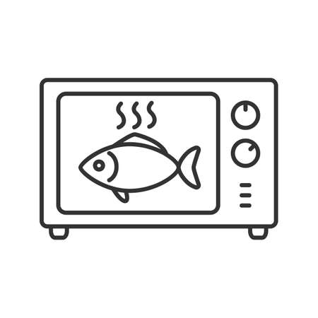 Cooking fish in microwave oven linear icon. Thin line illustration. Reheating meal. Contour symbol. Vector isolated drawing