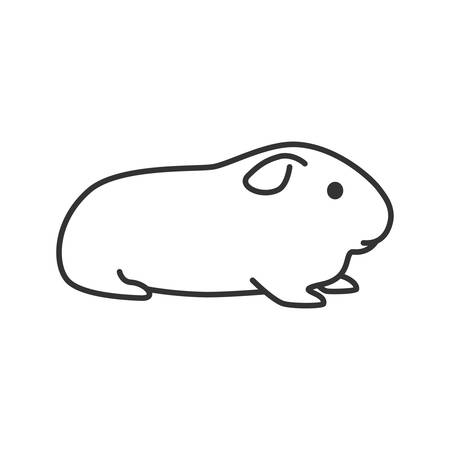 Cavy linear icon. Thin line illustration. Domestic guinea pig. Contour symbol. Vector isolated outline drawing