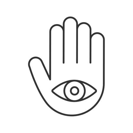 Eye in hand linear icon. Thin line illustration. Hand of Fatima. Contour symbol. Vector isolated outline drawing