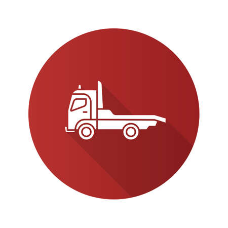 Tow truck flat design long shadow glyph icon. Car wrecker. Evacuator. Vector silhouette illustration