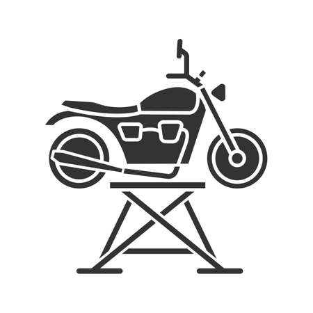 Motorbike jack glyph icon. Motorcycle repair lift. Silhouette symbol. Negative space. Vector isolated illustration
