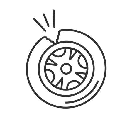 Punctured tire linear icon. Thin line illustration. Contour symbol. Vector isolated outline drawing Ilustração