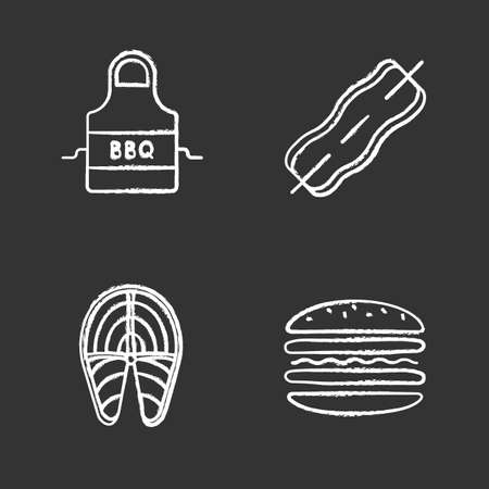 Barbecue chalk icons set. BBQ. Apron, bacon on skewer, fish steak, burger. Isolated vector chalkboard illustrations Illustration
