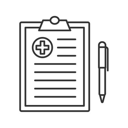 Medical report linear icon. Thin line illustration. Doctor advice. Contour symbol. Vector isolated outline drawing