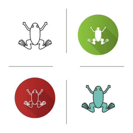 Frog icon. Flat design, linear and color styles. Toad. Isolated vector illustrations