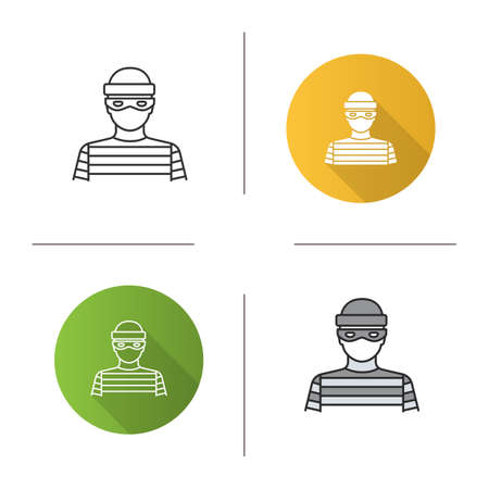 Robber icon. Flat design, linear and color styles. Thief. Housebreaker. Isolated vector illustrations