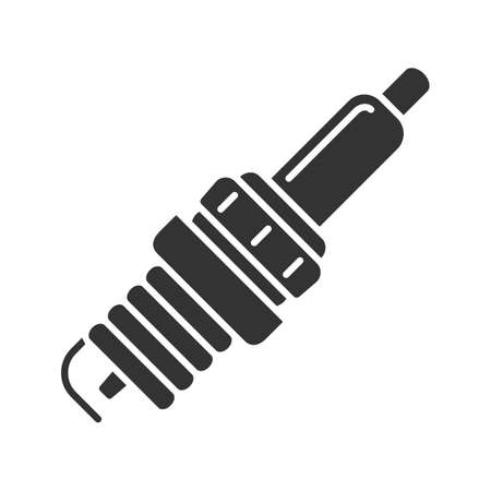 Car spark plug glyph icon. Silhouette symbol. Negative space. Vector isolated illustration