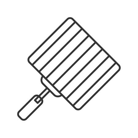 Hand grill linear icon. Barbecue grid. Thin line illustration. Grilling basket. Contour symbol. Vector isolated drawing