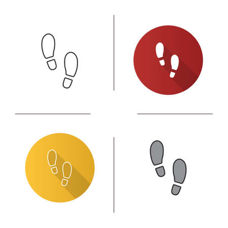 Footprints icon. Flat design, linear and color styles. Footsteps. Evidence. Isolated vector illustrations