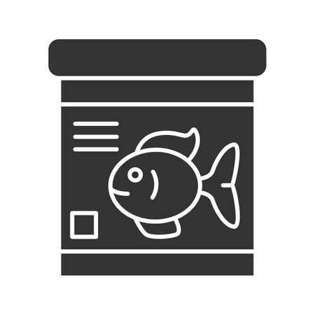 Fish food jar glyph icon. Silhouette symbol. Negative space. Vector isolated illustration