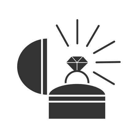 Icona del glifo con proposta di matrimonio. Simbolo della sagoma. Anello nuziale in scatola. Spazio negativo. Fidanzamento. Illustrazione vettoriale isolato