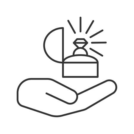 Marriage proposal linear icon. Hand holding ring in box. Thin line illustration. Engagement. Contour symbol. Vector isolated outline drawing Illustration