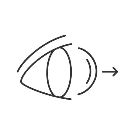 Eye contact lenses removing linear icon. Thin line illustration. Contour symbol. Vector isolated outline drawing
