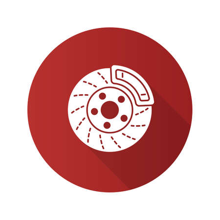 Disc brake with caliper flat design long shadow glyph icon. Vector silhouette illustration